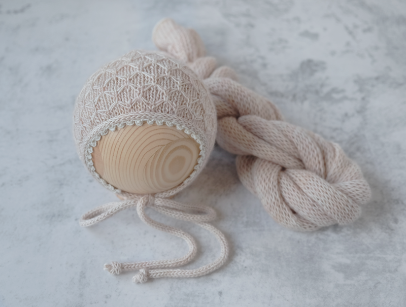 RTS 'RILEY' BONNET AND WRAP SET - WHITE CLAY
