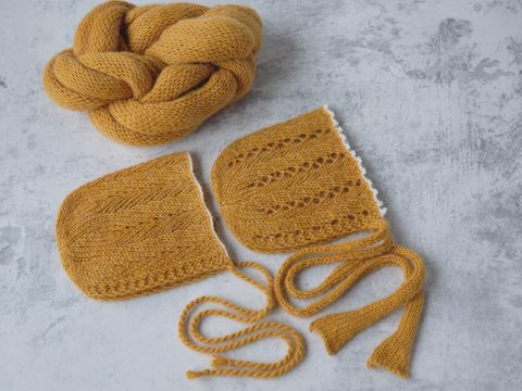 RTS 'JOSHUA' bonnets and wrap set - MUSTARD (3 piece set)