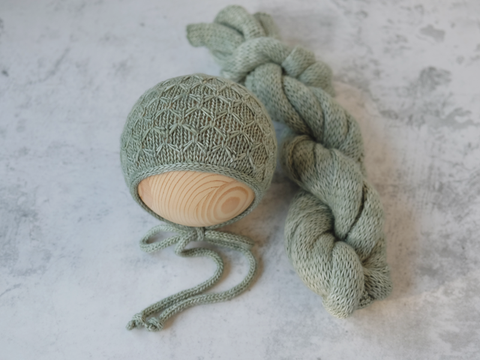 RTS 'RILEY' BONNET AND WRAP SET - ICE MATCHA