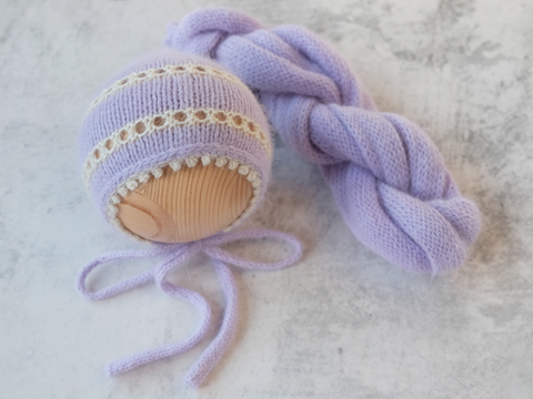 RTS 'CAROLINA' newborn bonnet and wrap set - LAVENDER DREAMS