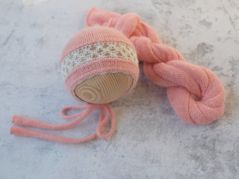 RTS 'ELENA' newborn bonnet and wrap set - SALMON