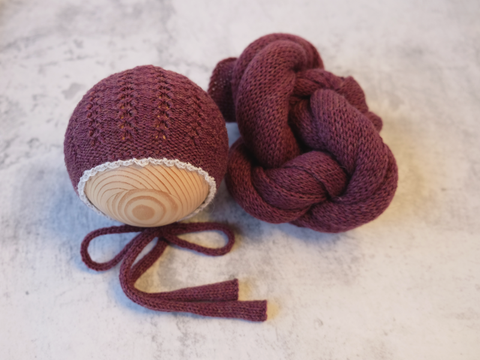 RTS 'GRACE' bonnet and wrap set - MERLOT