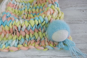 **RTS** Set #4 Signature handspun wool mini blanket and bonnet set