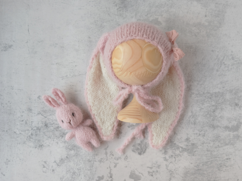 RTS newborn floppy bunny bonnet and cuddle buddy set