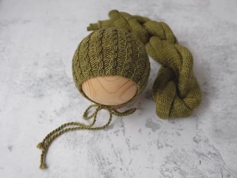 RTS 'JAMES' bonnet and wrap set - OLIVE (*LIMITED EDITION)
