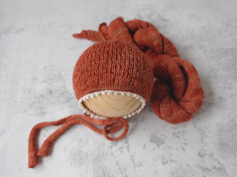 RTS 'WILLOW' bonnet and wrap set - BONFIRE (*LIMITED EDITION) *option to add layer