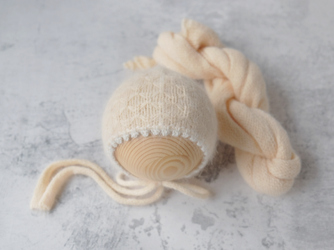 RTS 'RILEY' bonnet and wrap set - ALMOND
