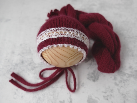 RTS 'SIMONE' bonnet and wrap set - MAROON