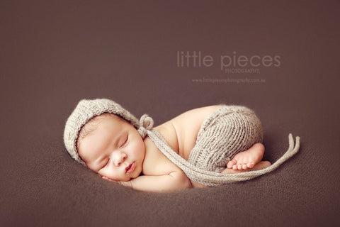 """LOGAN"" **MADE TO ORDER** Newborn knit pants and bonnet set"