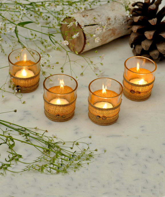 Jute glass tealight holder
