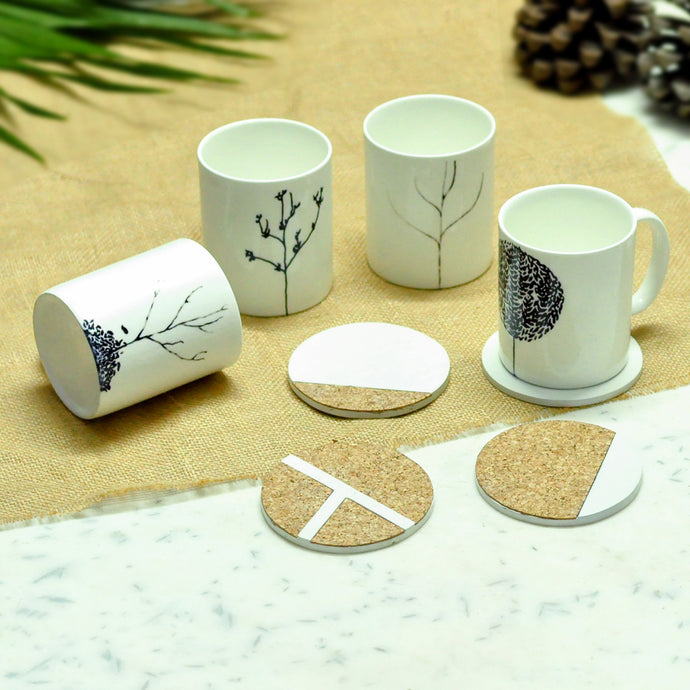 Coffee mug and round cork coasters