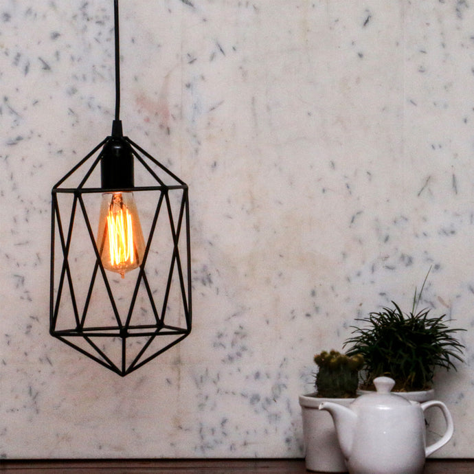 Black pentagon pendant lamp