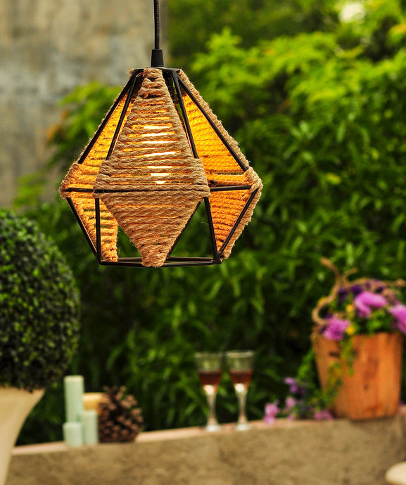 Diamond Metal Jute Pendant Lamp