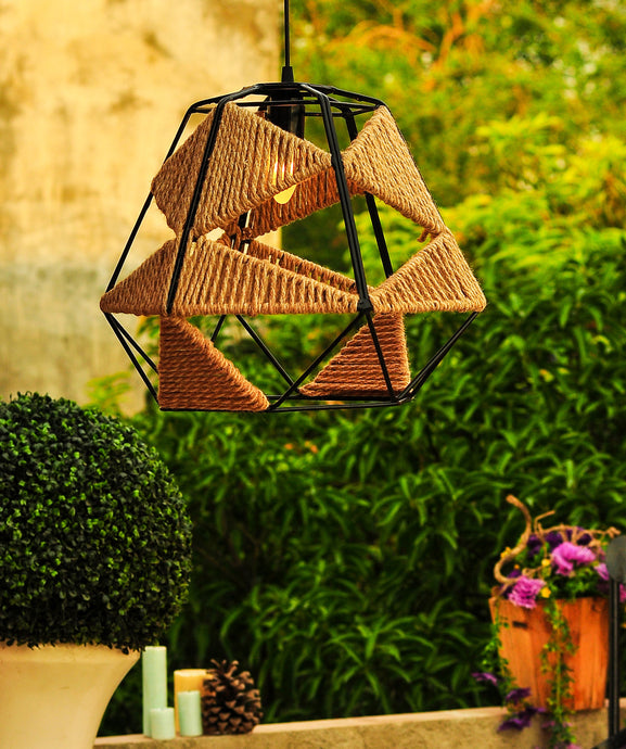 Big Metal Jute Pendant Lamp