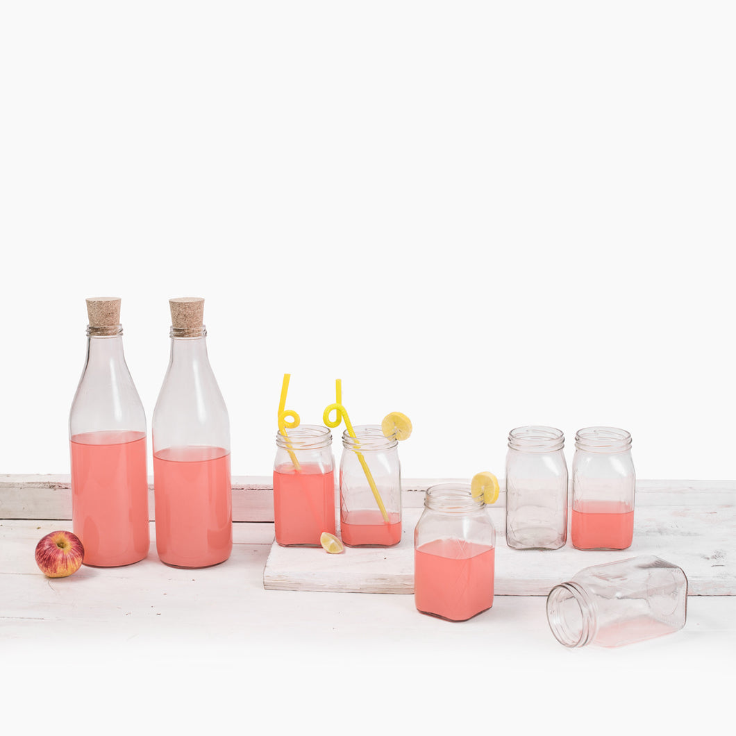 Mocktail bottle and glass set