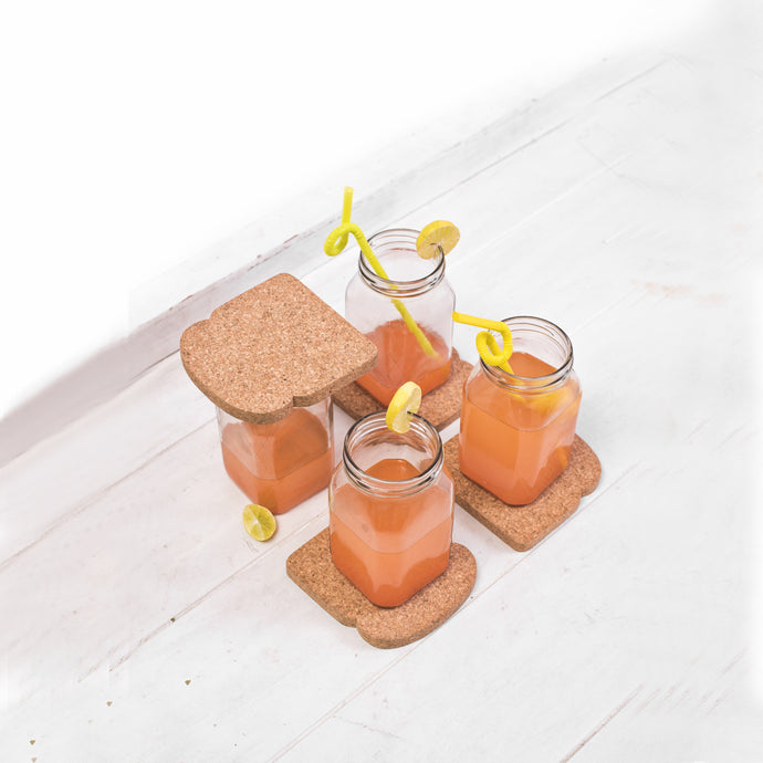 Mocktail square glasses  with bread coasters