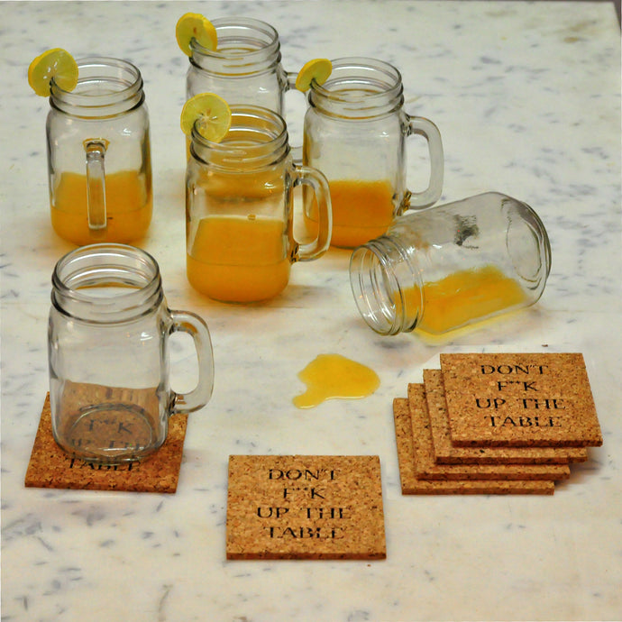 Mason jar & quirky cork coasters