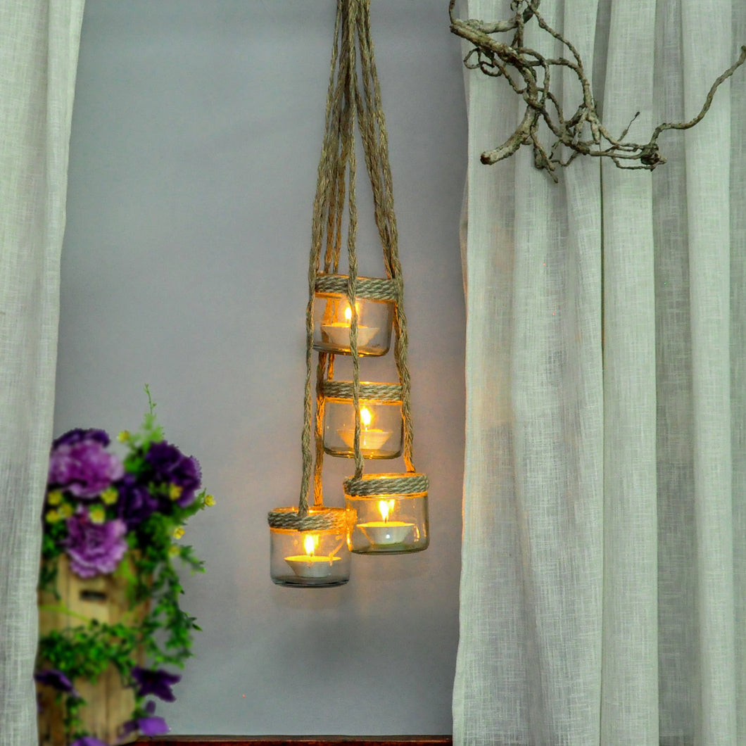 Jute hanging tealight holder