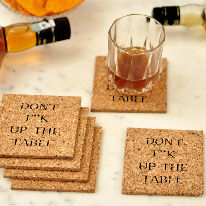 Quirky cork coasters