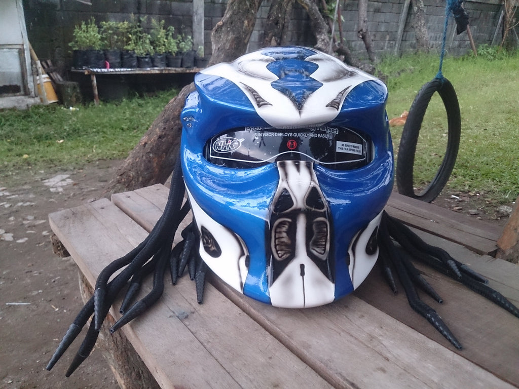 Custom blue and white cyber predator real motorcycle helmet