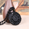 Lucky Pendant Necklace Natural Obsidian Carved Chinese Dragon Phoenix