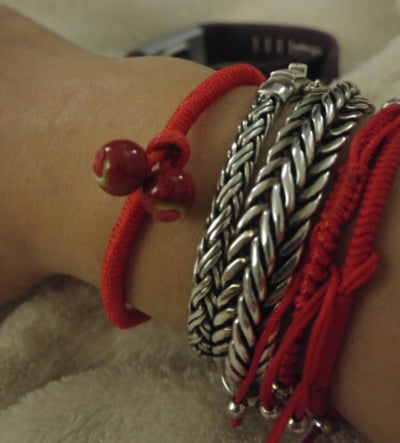 Lucky Red String Ceramic Bracelet [Set of 2]