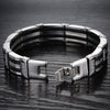 High Quality Stainless Steel & Black Silicone Mens Bracelets