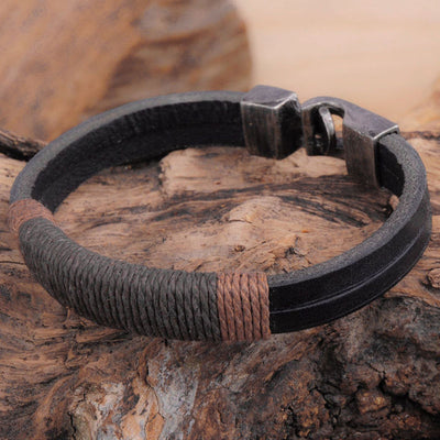 Surfer Mens Vintage Hemp Wrap Leather Wristband Bracelet