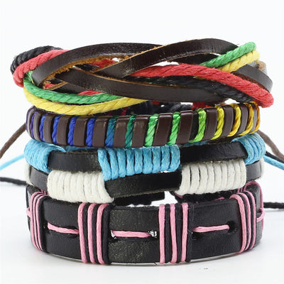 Multilayer Fashion 4 Pcs/set Punk Woven Leather Men Bracelet