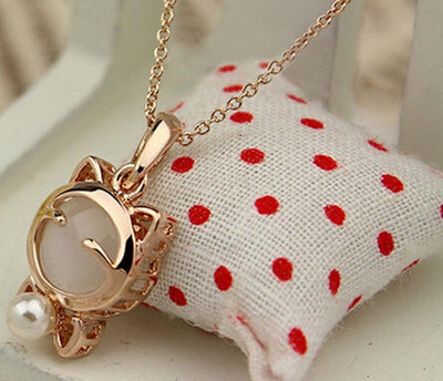Lucky Cat Necklace Ladies Cat Eye Stone Stone Necklace