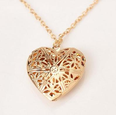 Hollow Gold Silver Heart Pendant Long Chain Necklace