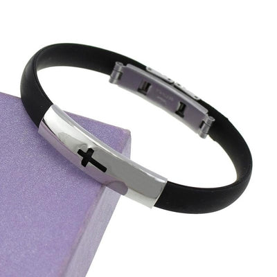 Slippy Hollow Strip Grain Stainless Steel Men Bracelet