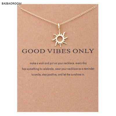Gold-color Good Vibes Only Sun Necklaces & Pendants For Women Jewelry
