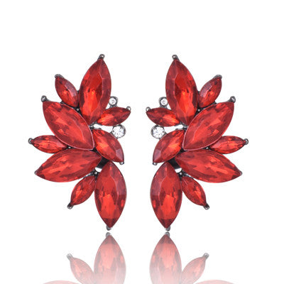 Water Gem Stone Stud Earring Vintage Red Black Glass Earring