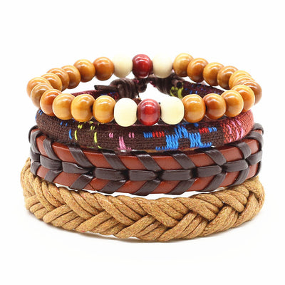4pcs/set Handmade Punk Wood Bead Charm Men  Leather Bracelet