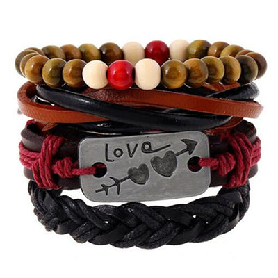4pcs 1 Set Punk Genuine Wrap Leather Bracelet