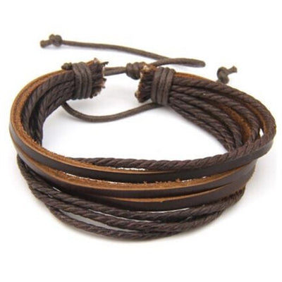 Multilayer Genuine Leather Braided Rope Wristband Cuff Bracelet