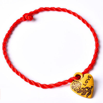 Decent Heart Leaf Animal Lock Lovers' Braided Red Rope Bracelet