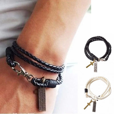 Style Latest Popular 3 Laps Braided Leather Bracelet