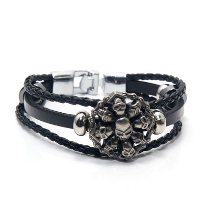Genuine Leather Woven Skull Bracelet