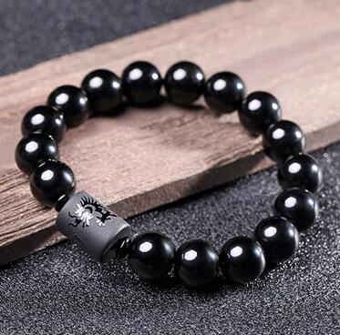 Yoga Natural Black Obsidian Carved Buddha Bracelet