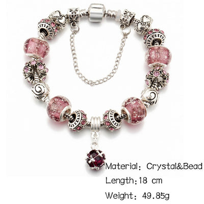 IF ME Vintage DIY Crystal Glass Beads Charms Bracelets For Women Famale Pendant Bracelets & Bangles Pulsera Jewelry Snake Chain
