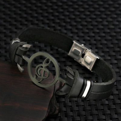 musical stainless steel Genuine Leather Bracelet