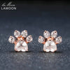 Bearfoot 5x5.5mm 100% Natural Gemstone Rose Quartz 925 sterling-silver-jewelry Rose Gold Plated Stud Earring