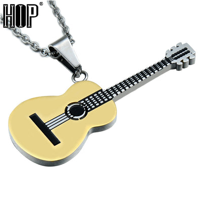 HIP Rock Two Tone Gold Color Titanium Stainless Steel Music Guitar Pendant Necklace