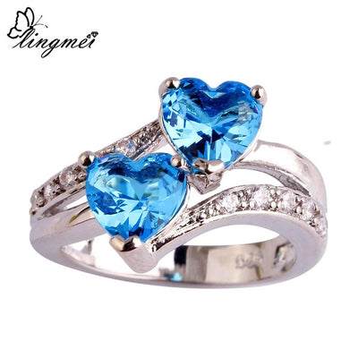Heart Dazzling Multicolor Red Blue & White CZ Silver Color Ring