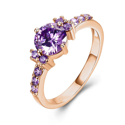 Rose Gold Color Ring Purple Stone Ring