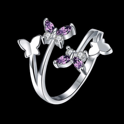 Adjustable Butterfly Crystal Wings Ring