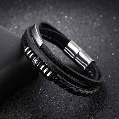 Black Braid Multilayer Rope Chain Bracelet