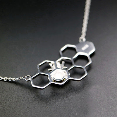Heart Honeycomb Bee Animal Necklace
